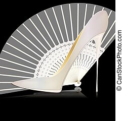 white shoe and fan - dark background and the whit ladys shoe...