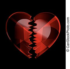 cracked heart-crystal - a dark background and the dark red...