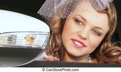 Portrait of Pretty Woman In Retro Style - Portrait of a...