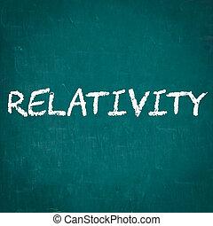 RELATIVITY written on chalkboard