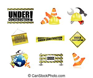under construction tools icon set