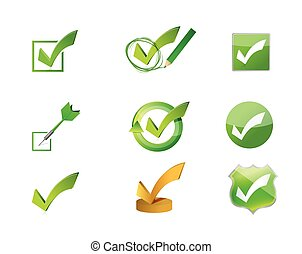 approve check marks icon set illustration design over white