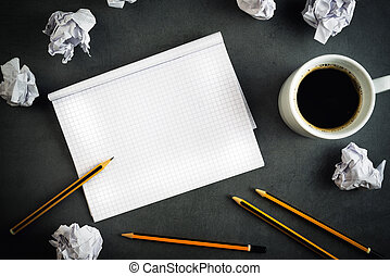 Creative Writing Concept With Pencils, Coffee Cup, Notepad...