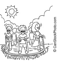 Kids on Merry Go Round black and white cartoon drawing.