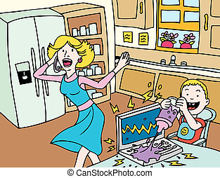 bad baby - Cartoon of a baby breaking mom\'s laptop...