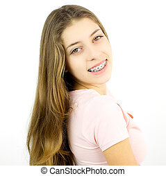 Happy girl with braces smiling isolated - Young female...