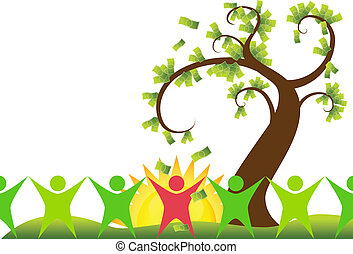 money tree people isolated on a white background.