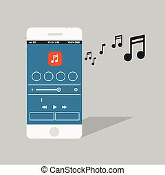 Modern smartphone with the music player