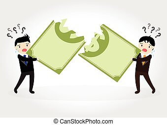 Fighting over money - Businessman fight over for dollar...