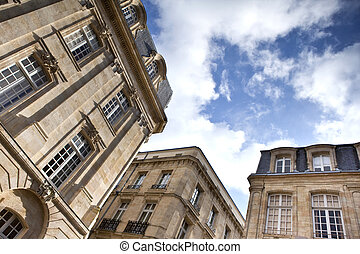 Facades of old mansions in Bordeaux, France