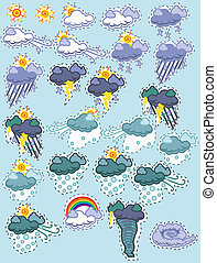Weather patches (day) - A set of weather icons in a fun...