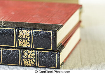 Texture of two leather gilt tooled vintage books