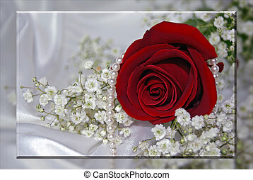 Winter Wedding - Pearls and red rose on white satin.