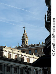 Giralda tower in Seville - View of the Giralda tower in...