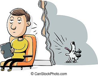 Barking Dog - A cartoon man tries to enjoy quiet time but is...