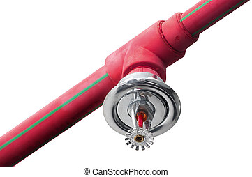 Fire sprinkler on red pipe - Fire sprinkler and red pipe on...