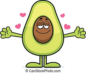 Cartoon Avocado Hug - A cartoon illustration of an avocado...