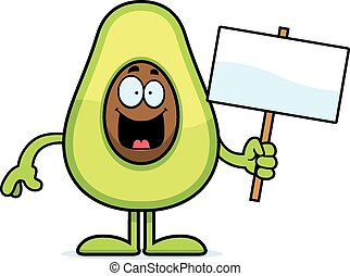 Cartoon Avocado Sign - A cartoon illustration of an avocado...