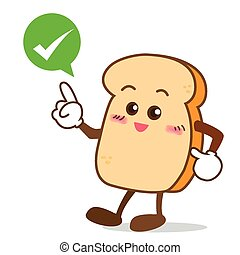 Isolated happy smile shop right Slice of bread cartoon