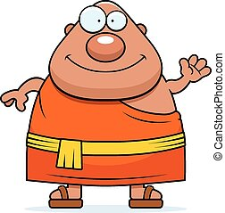 Cartoon Buddhist Monk Waving - A cartoon illustration of a...