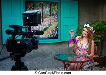 Filming TV Show - Beautiful Presenter Filming TV Show On...