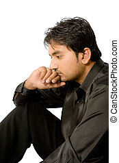 Depression - depressed person thinking over white background...