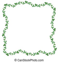 Clovers green leaves frame