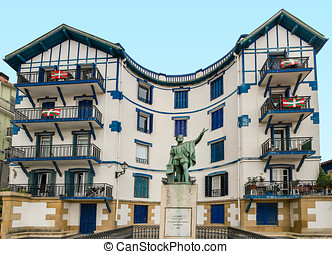 Basque country Elcano - Facade of typical building in the...