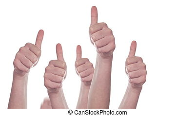 Group of People showing Thumbs Up - Group of Caucasian white...