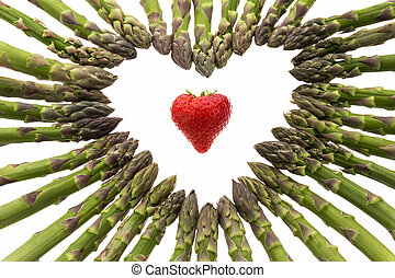 Strawberry Amidst A Heart Made Of Asparagus Spears -...