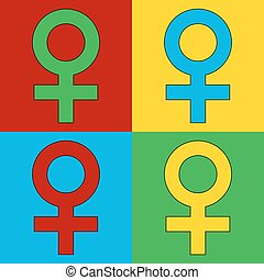 Pop art gender female symbol icons Vector illustration