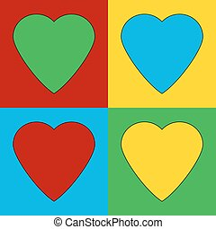 Pop art heart symbol icons Vector illustration
