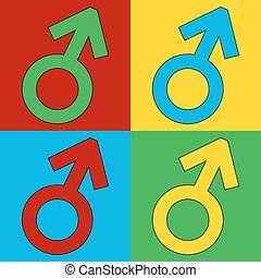 Gender male symbol button - Gender male symbol button on...