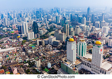 City town, View Point on top of building, Bangkok, Thailand...