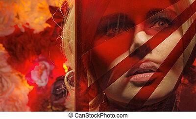 肖像画, 主題, 女, 若い, 赤