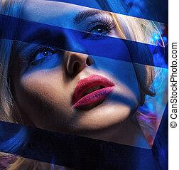 藍色, 肖像, 主題, 婦女