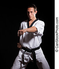 Martial arts fighter show attack on black