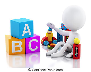 3d white people baby playing with toys.