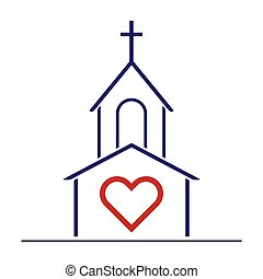 God Loves You - Christian Church and Heart as Love Symbol....