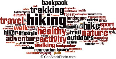 Hiking word cloud concept Vector illustration