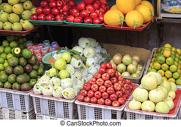 Abundant display of fruits and vegetables