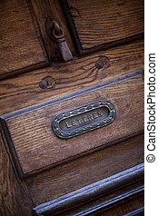 Letter box - Vintage French letter box on a wooden door