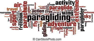 Paragliding word cloud concept Vector illustration