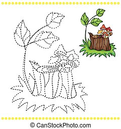 Connect the dots and coloring page - grass, stump and...