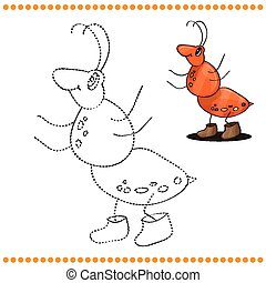 Connect the dots and coloring page - Ant cartoon