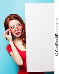 girl in red dress and glasses with white board - Surprsied...