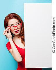 niña, en, rojo, Vestido, y, anteojos, con, blanco,...