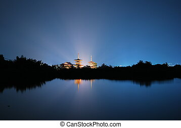 Temple with radiating light - Temple with beautiful...