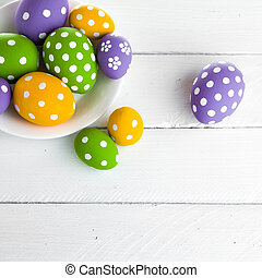 Easter eggs on wooden background. studio shot