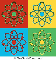 Pop art atom symbol icons Vector illustration
